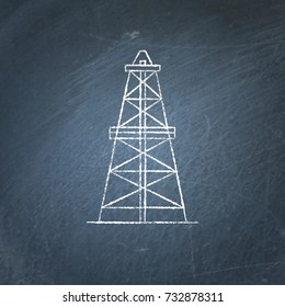 Oil derrick icon sketch on chalkboard. Rig for exploration and oil production symbol - chalk drawing on blackboard.