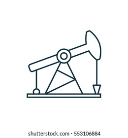 Oil derrick isolated line icon on white background