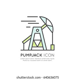 Oil Derrick, Pumpjack Station, Industry, Mining Process, Isolated Vector Icon Style Illustration