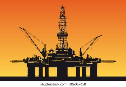 Oil derrick in sea for industrial design. Rasterized version also available in gallery