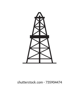 Oil derrick silhouette icon in flat style. Rig for exploration and oil production symbol isolated on white background.