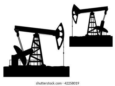 Oil derrick silhouette isolated on white. For concept of oil industry