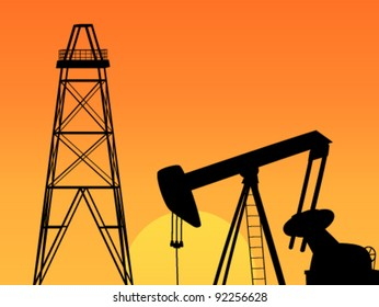 Oil derrick at sunset background. Oil rig and orange sky illustration.