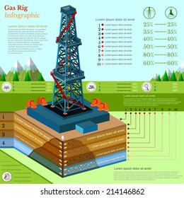 oil derrick tower or gas rig info graphic with landscape