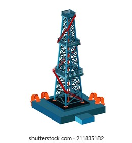 oil derrick tower on white