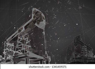 oil derrick. vector 3d object. mining of minerals. abstract explosion of particles.