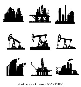 Oil derricks and gas extraction pump mining stations icons set. Vector isolated symbols of oil drilling sea platform, pipeline refinery, industrial fuel plant or factory with smoke of blast furnace.
