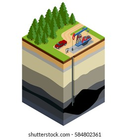 Oil drilling exploration concept. Engineer writing on the paper in front of the natural gas pipes. Refinery, gas and oil. Flat 3d isometric illustration. For infographics and design