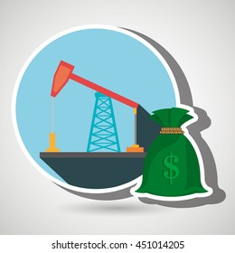 oil drilling money isolated icon design, vector illustration  graphic