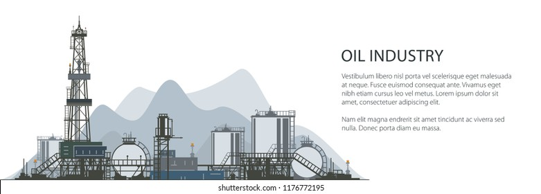 Oil Drilling Rig Banner, Oilfield , Drilling Oil or Natural Gas Rig with Outbuildings and Tanks and Cisterns, Poster Brochure Flyer Design, Vector Illustration