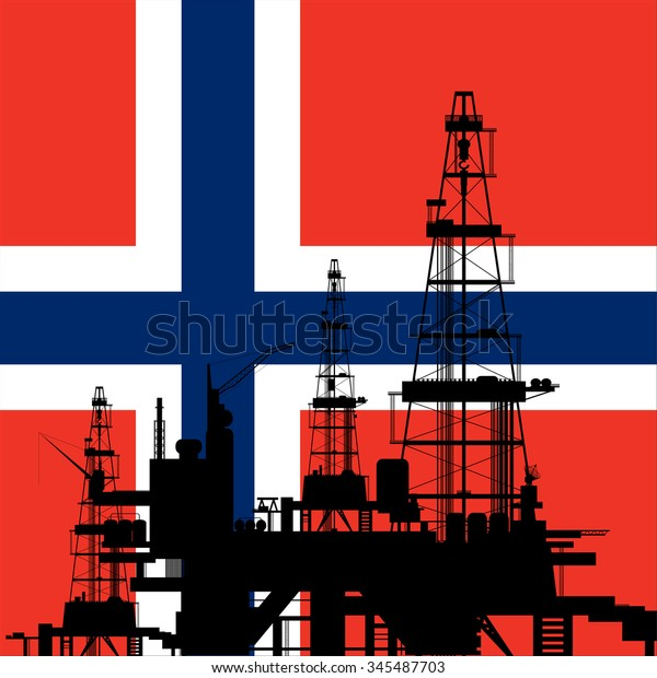 Oil drilling rig silhouette at Norway Flag background