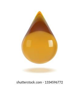 Oil drop 3d vector realistic, orange liquid droplet. Pure drop serum, cosmetic essence with light reflection