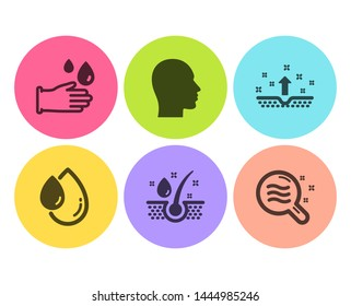 Oil drop, Clean skin and Head icons simple set. Serum oil, Rubber gloves and Skin condition signs. Serum, Cosmetics. Medical set. Flat oil drop icon. Circle button. Vector