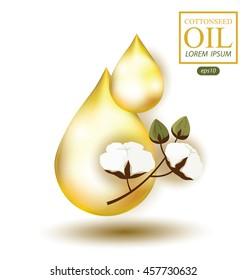 Oil drop. Cottonseed oil. Vector illustration.