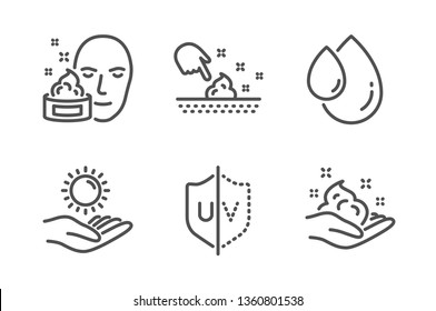 Oil drop, Face cream and Skin moisture icons simple set. Uv protection, Sun protection and Skin care signs. Serum, Gel. Beauty set. Line oil drop icon. Editable stroke. Vector