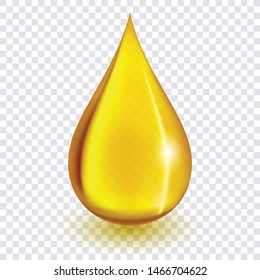 Oil drop or honey isolated on transparent background as industrial and petroleum concept. vector illustration.