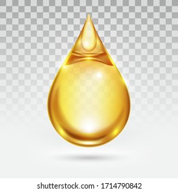 Oil drop or honey isolated on transparency white background, golden yellow transparent liquid, vector illustration