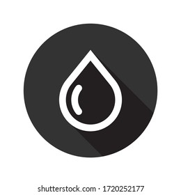 Oil drop icon. Water drop sign. Petroleum vector icon. Ink drop icon.  Tear drop symbol. EPS 10 flat sign design. Round icon pictogram with shadow