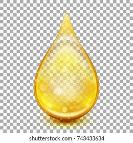 Oil drop isolated on transparent background. Collagen oil drop essence. And also includes EPS 10 vector