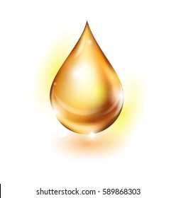 Oil drop isolated on white background. Icon of drop of oil or honey, The template vector.