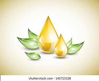 Oil droplets extract with green leaves, EPS 10