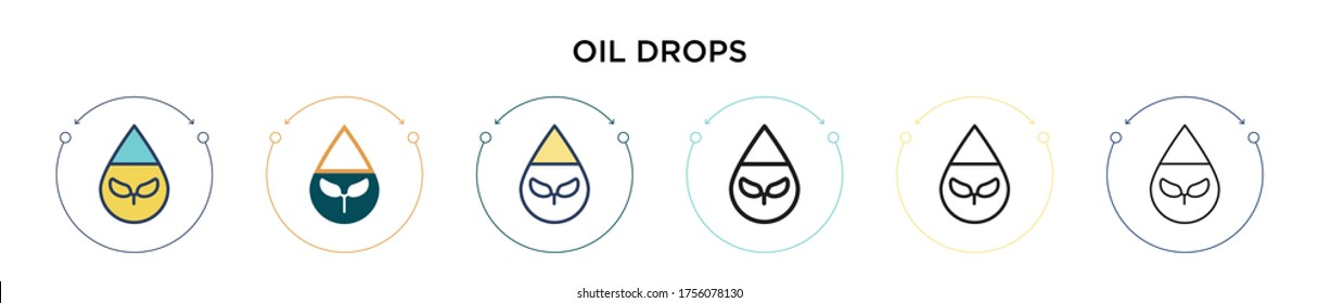 Oil drops icon in filled, thin line, outline and stroke style. Vector illustration of two colored and black oil drops vector icons designs can be used for mobile, ui, web