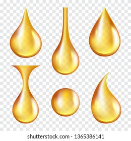 Oil drops. Yellow transparent splashes of machine or cosmetic golden oil vector realistic template. Illustration of liquid oil, drop and splash