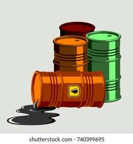 Oil drums container fuel cask storage rows steel barrels capacity tanks natural metal old bowels chemical vessel vector illustration