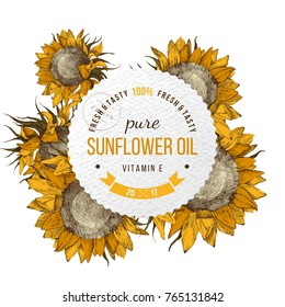 Oil emblem over bright hand drawn sunflowers
