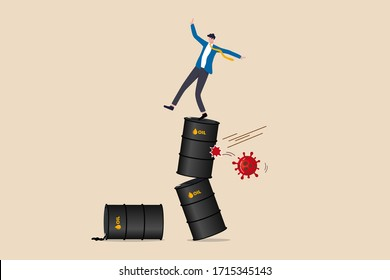 Oil and energy price crash from Coronavirus COVID-19 pandemic crisis concept, uncertainty unstable businessman falling down and trying to stand on stack of crude oil gallon with virus pathogen impact.