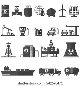Oil And Energy Resources Icons Set Vector Illustration