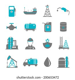 Oil extraction gas production transportation and distribution pictograms collection with industrial complex petroleum pump isolated vector illustration