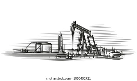 Oil extraction isolated vector illustration.
