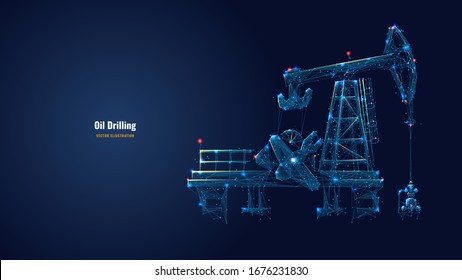 Oil fields concept. Oil drilling derricks at desert oilfield for fossil fuels output and crude oil production from the ground. Low poly wireframe vector illustration. Oil drill rig and pump jack.
