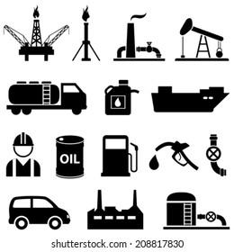 Oil, fuel, petroleum and gasoline icon set
