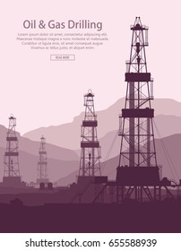 Oil and Gas Drilling Rigs over mountains view. Detail vector illustration.
