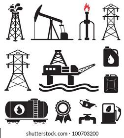 Oil, gas, electricity symbols