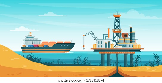 Oil gas extraction vector illustration. Cartoon flat drill oilfield technology, offshore extracting pump tower station at sea water, ship tanker passing to rig drilling platform infographic poster