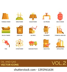Oil and gas icons including thermal power, wind, solar, pipeline, cylinder, sea tanker, jerrycan, price, market, chemical analysis, fuel, atom, gasoline truck, sale, distillation.