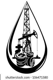 Oil and gas industry. Black and white illustration.
