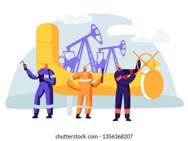 Oil and Gas Industry Concept with Man Character Working on the Pipeline. Oilman Worker on Production Line Petrol Refinery. Vector flat illustration