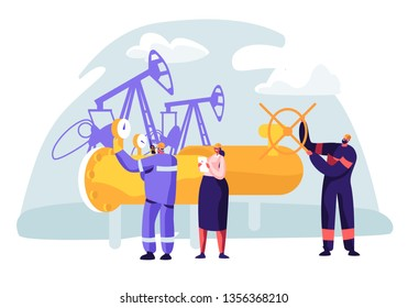 Oil and Gas Industry Concept with Man Character Working on the Pipeline. Oilman Worker on Production Line Petrol Refinery with Woman Check Quality Control. Vector flat illustration