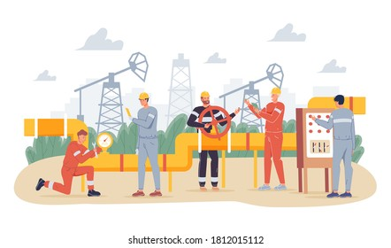 Oil gas industry concept. People oilman worker wearing overalls engaged in gasoline pipe steel construction welding, servicing. Production line petrol refinery maintenance. Pipeline surveillance