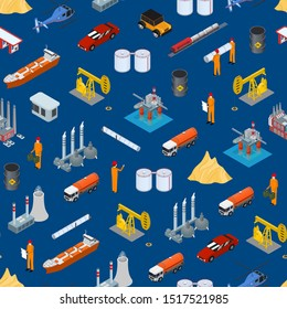 Oil Gas Industry Concept Seamless Pattern Background 3d Isometric View Include of Pump, Transportation, Station, Tanker and Platform. Vector illustration