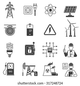 Oil and gas industry energy power production and transmitting symbols black icons set abstract vector isolated  illustration