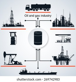 Oil and gas industry icons. Extraction, transportation and refining equipment.