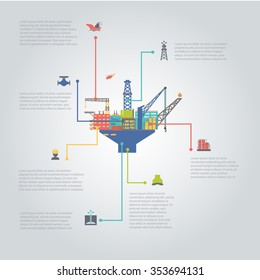 oil and gas industry infographic set vector illustration colorful oil Platform.