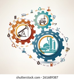 oil and gas industry infographics, extraction, processing and transportation, process and icons