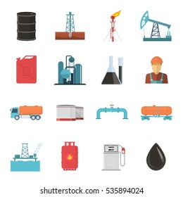 Oil and gas industry isolated icon set with power plants vessels jars pumping units and vehicles vector illustration