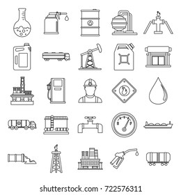 Oil gas industry outline icons set with offshore platform drilling rig and tanker vessel isolated vector illustration. Oil gas industry objects for industrial design